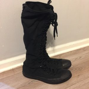 Converse Lace up Tall Boot Sneakers Black sz 9